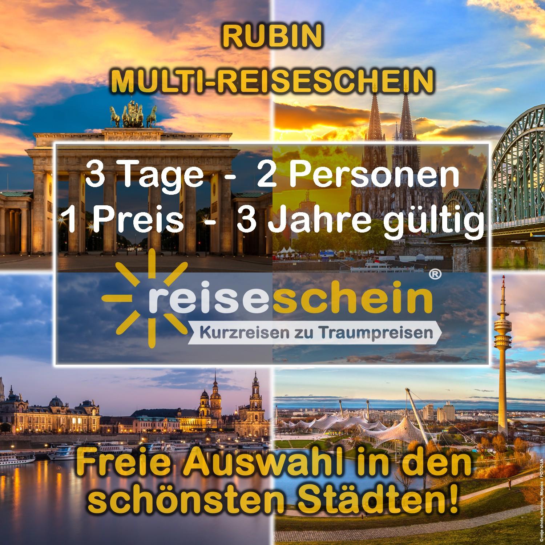 RUBIN MULTI-Reiseschein für 3 Tage Kurzurlaub z...